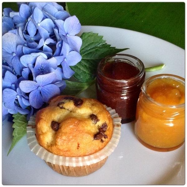 Marmellate particolari e Muffin con gocce di cioccolato
