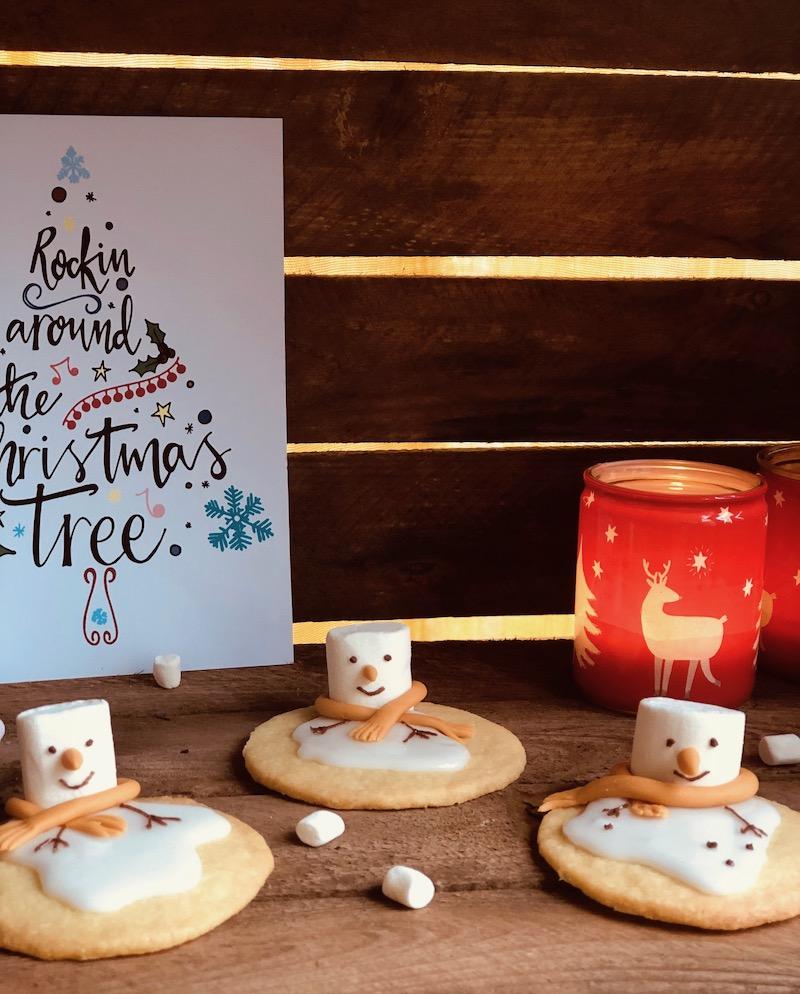 Biscotti natalizi melted snowmen cookies